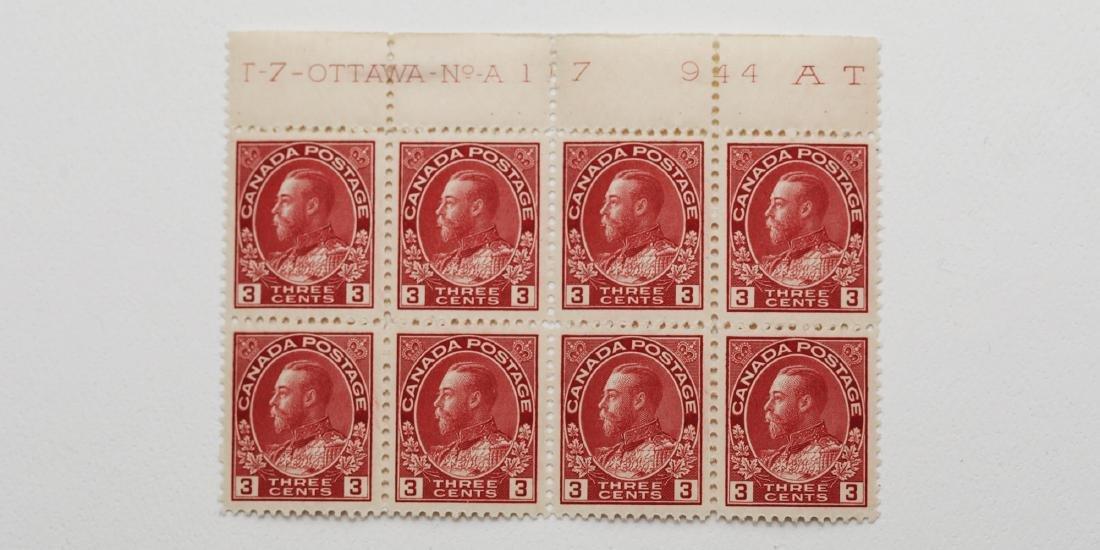 Canada- 1923 3c Carmine Block of 8 VF MNH