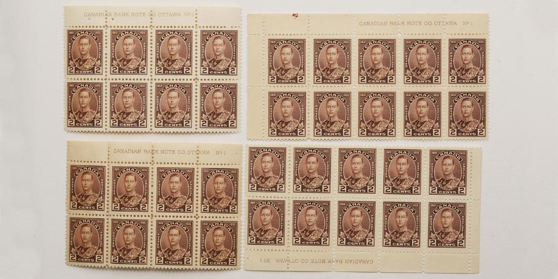 Canada- 2c S/C #212- 2 Blocks of 10, 2 Blocks of 8