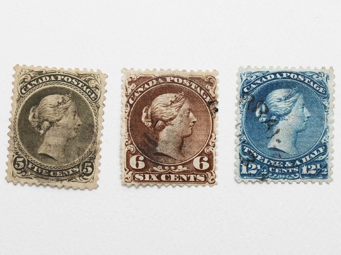 """Canada- 3 """"Large Queens"""" Victoria 5c, 6c, 12 1/2c"""