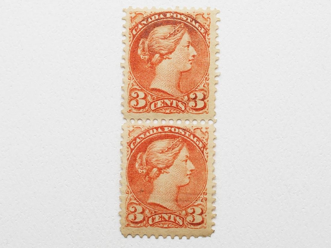 Canada 3c Pair S/C #37 MNH VF and MH F