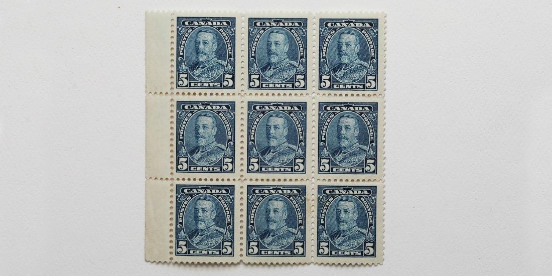 Canada- 5c Block of 9 S/C #221 MNH VF/XF