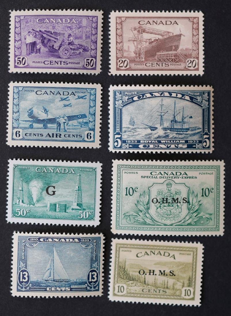 Canada 8 Mint Stamp Collection