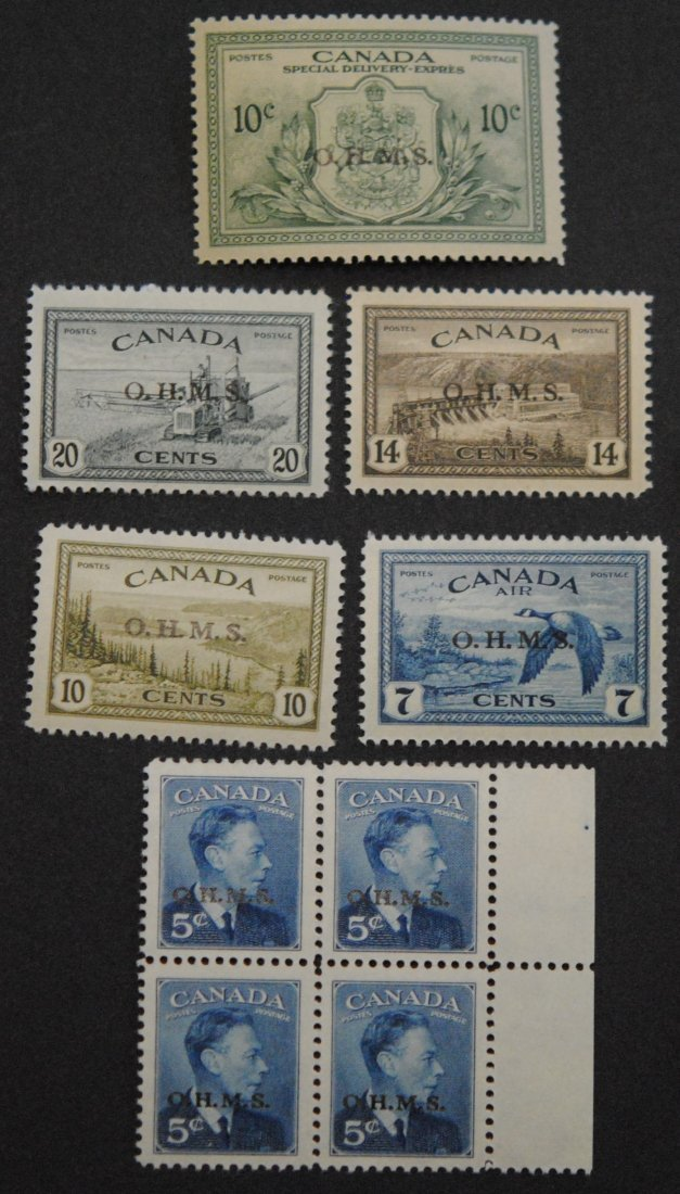Canada Overprinted Official Stamps Collection