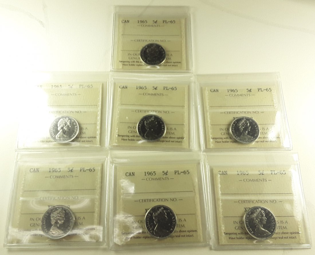 Canadian Prooflike 5 Cent Collection - 5