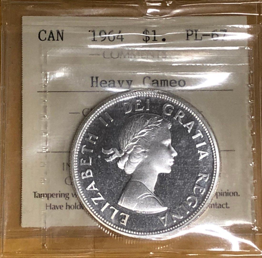 Canadian -  1964 Silver Dollar ($1) PL67 Heavy Cameo
