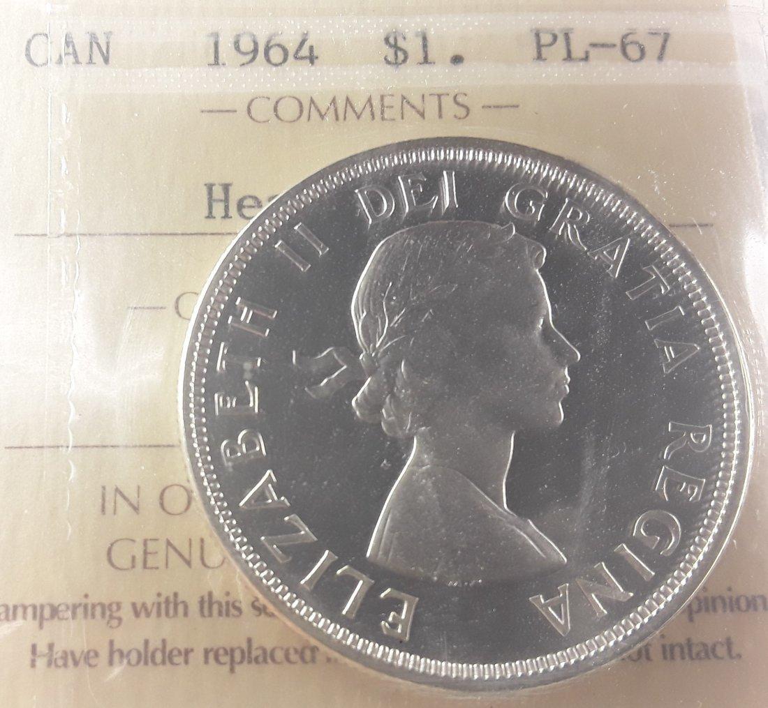 Canadian -  1964 Silver Dollar ($1) PL67 Heavy Cameo - 3