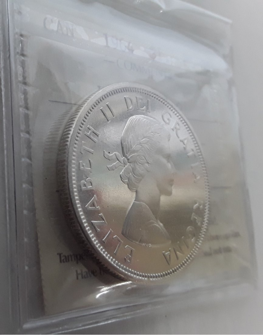 Canadian -  1964 Silver Dollar ($1) PL66 Heavy Cameo - 3