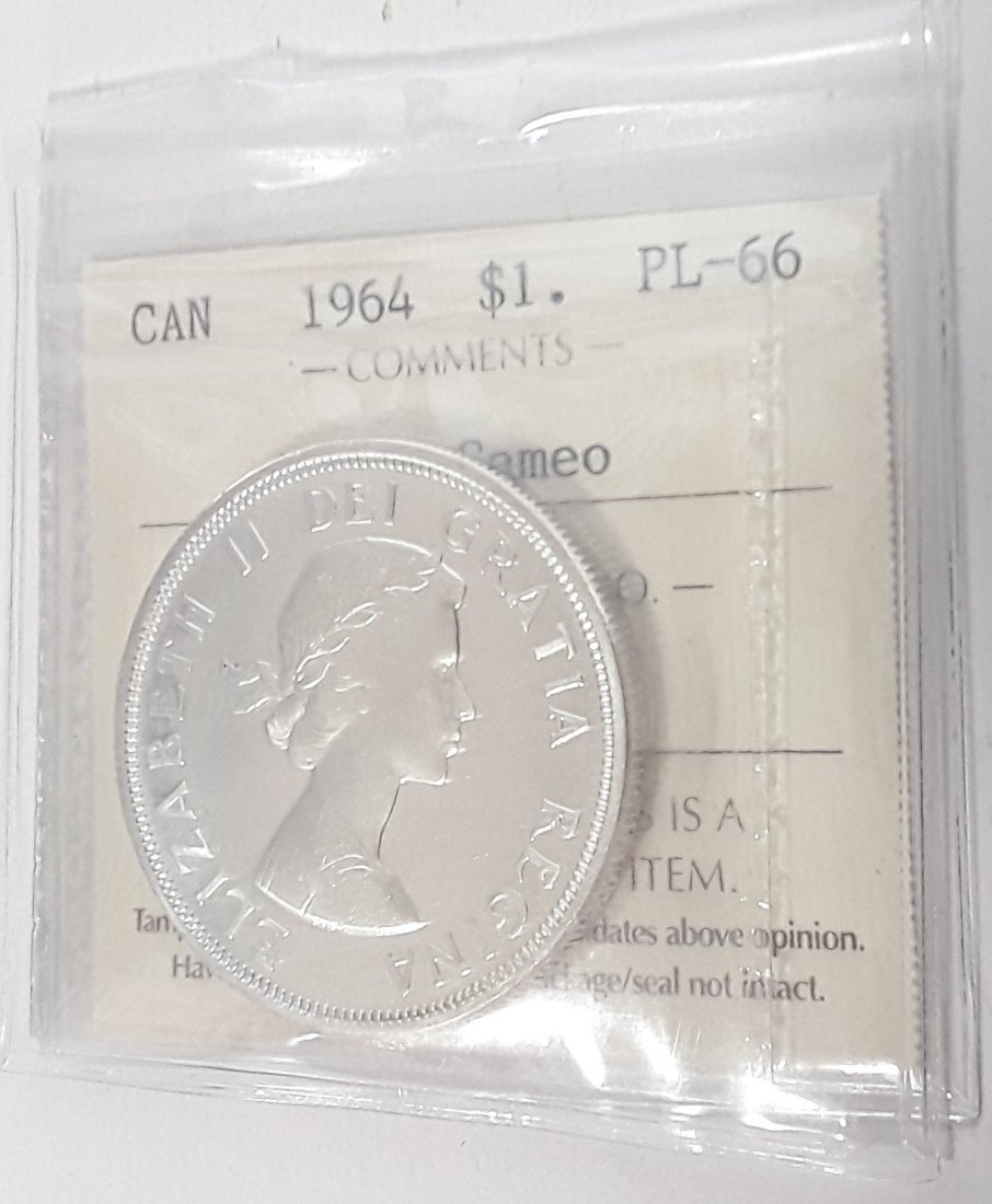 Canadian -  1964 Silver Dollar ($1) PL66 Heavy Cameo - 4