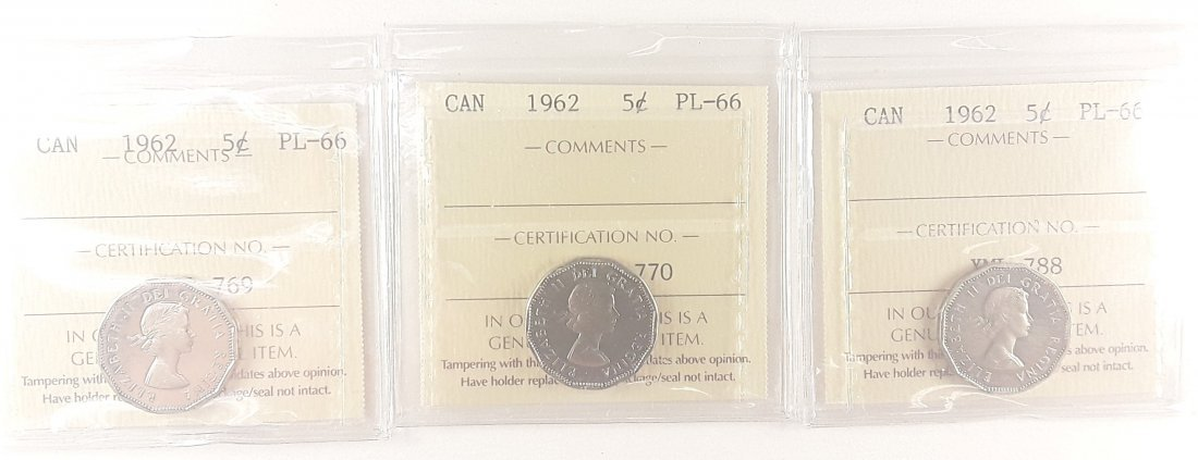 Canadian  1962 Prooflike 5 Cent (silver)  Coin - 9