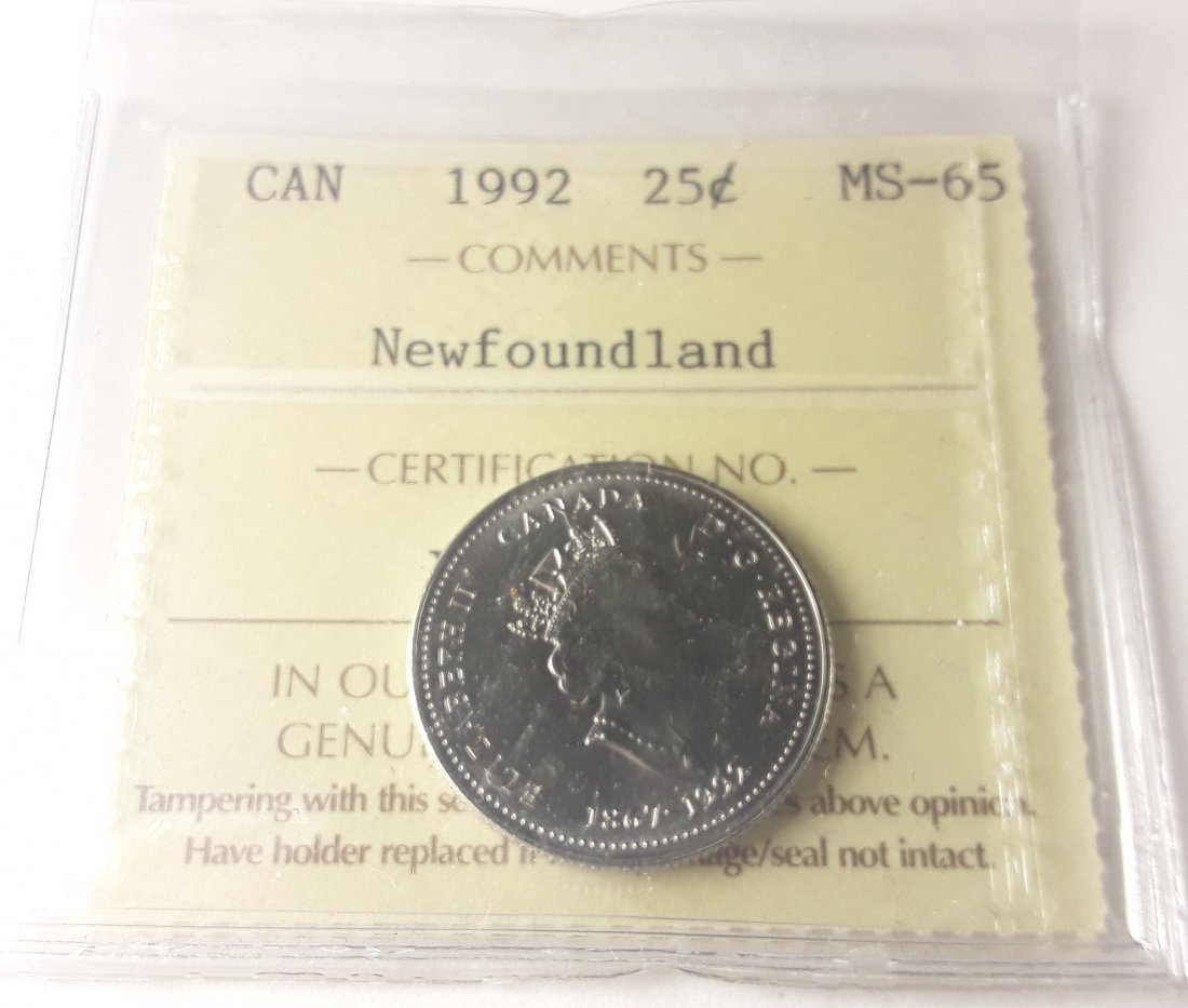 Canadian 1992 Newfoundland 25 Cent Collection - 3