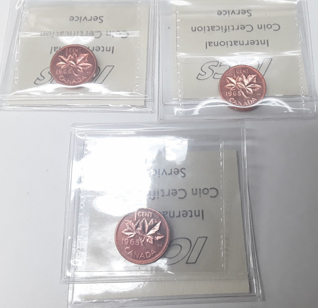 Canadian 1965 1 Cent (penny) Coin Collection. Variety: - 10