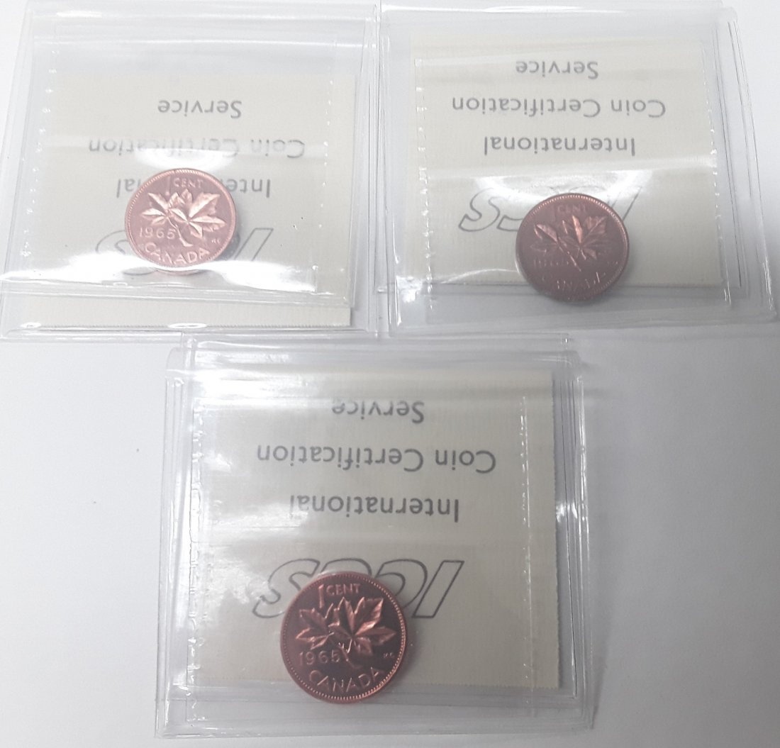 Canadian 1965 1 Cent (penny) Coin Collection. Variety: - 2