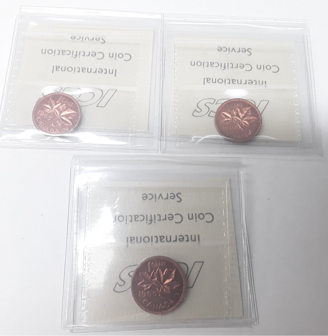 Canadian 1965 1 Cent (penny) Coin Collection. Variety: - 4
