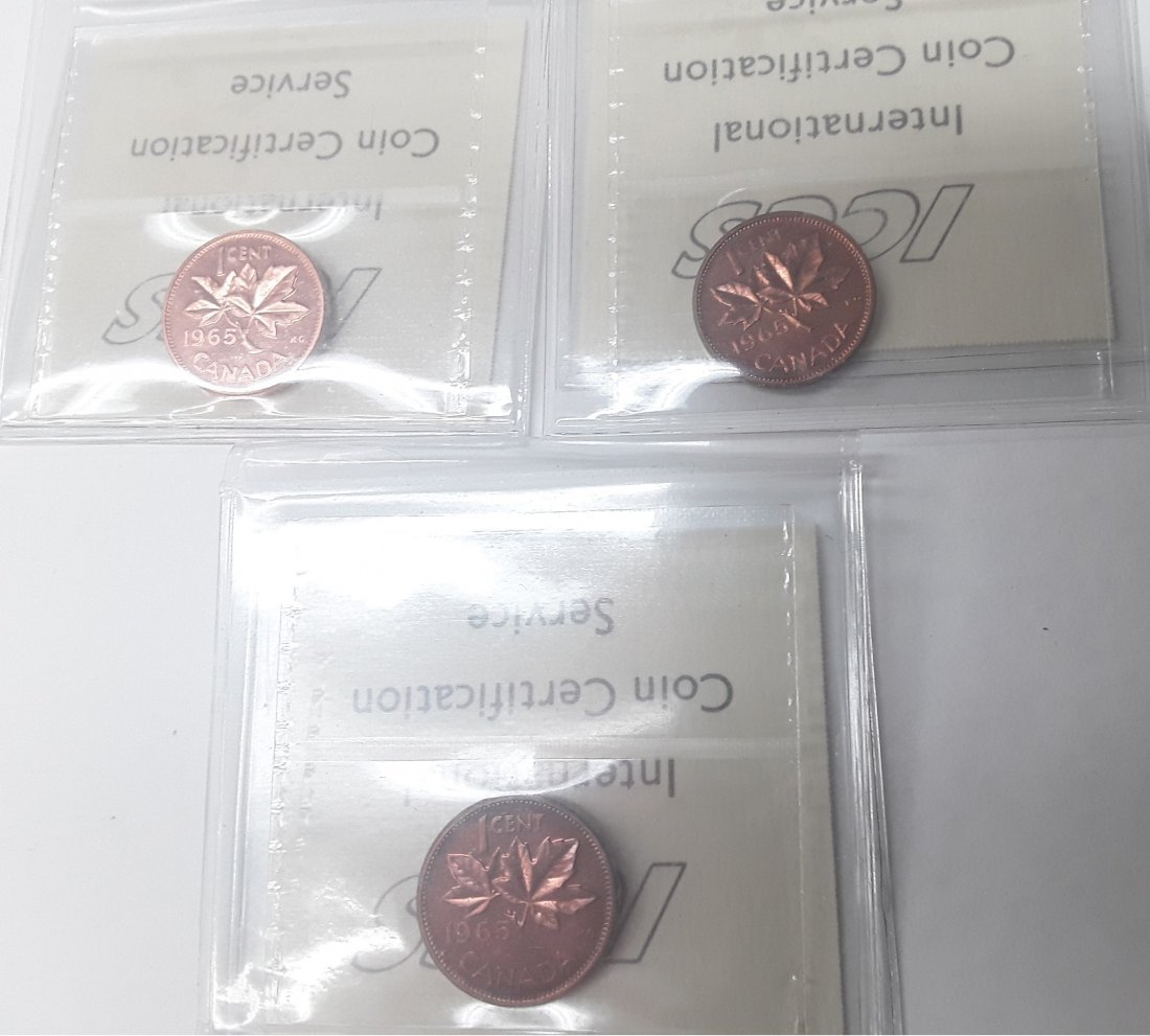 Canadian 1965 1 Cent (penny) Coin Collection. Variety: - 6