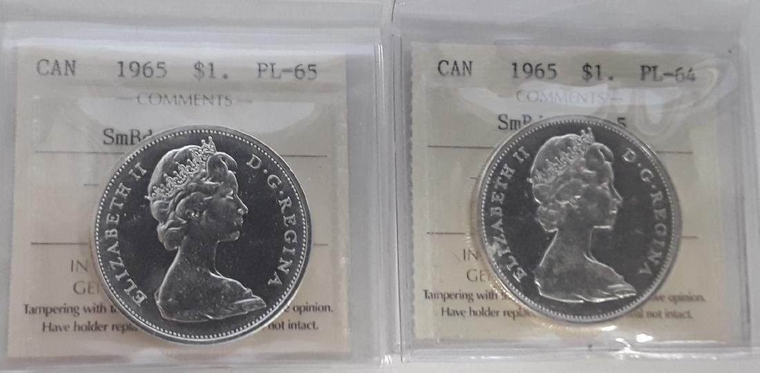 Canadian 1965 Prooflike Silver Dollar Coins