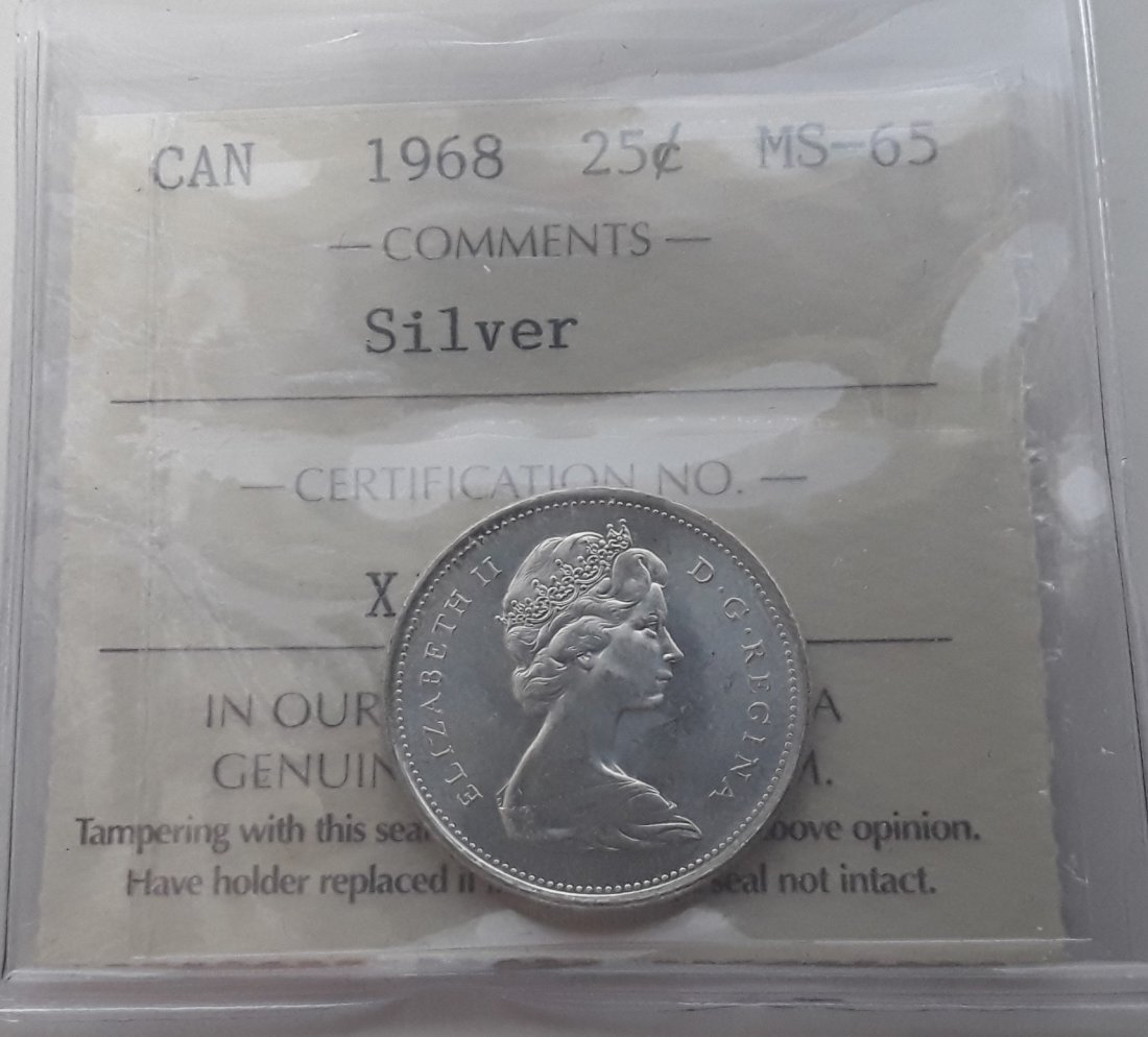 Canadian 1968 25 Cent   (Silver quarter) Coin - 5