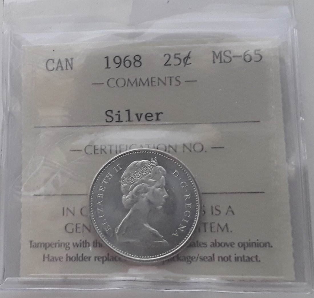 Canadian 1968 25 Cent   (Silver quarter) Coin - 8