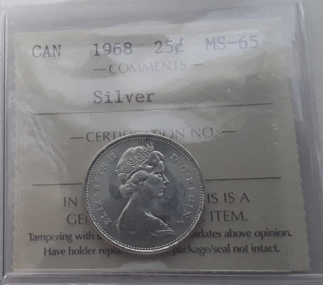 Canadian 1968 25 Cent   (Silver quarter) Coin - 9