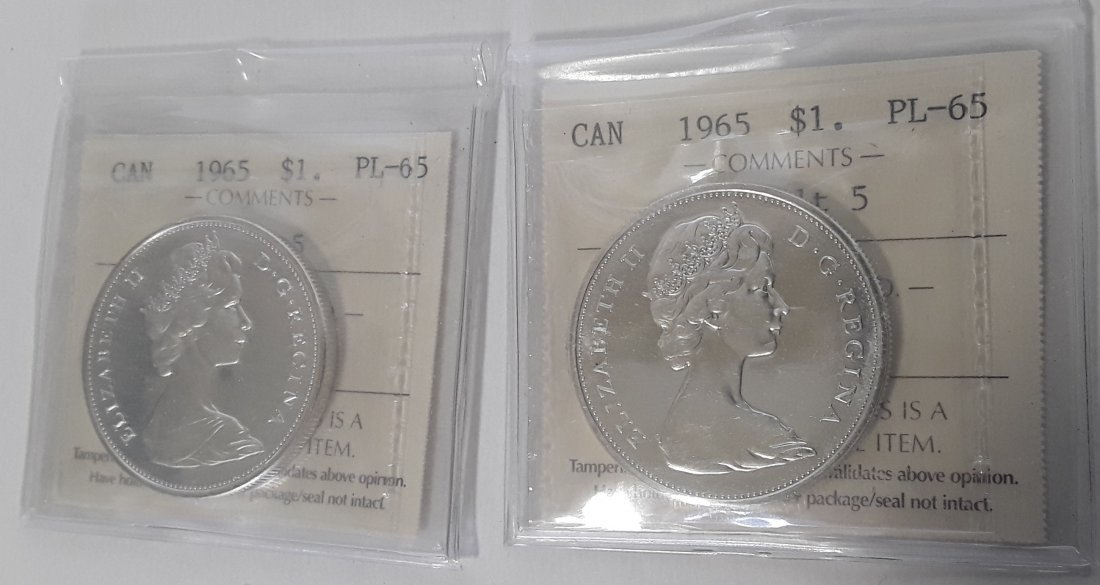 Canadian 1965 Prooflike silver dollar  Coin - 2