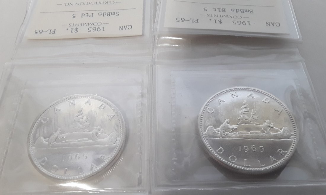Canadian 1965 Prooflike silver dollar  Coin - 4