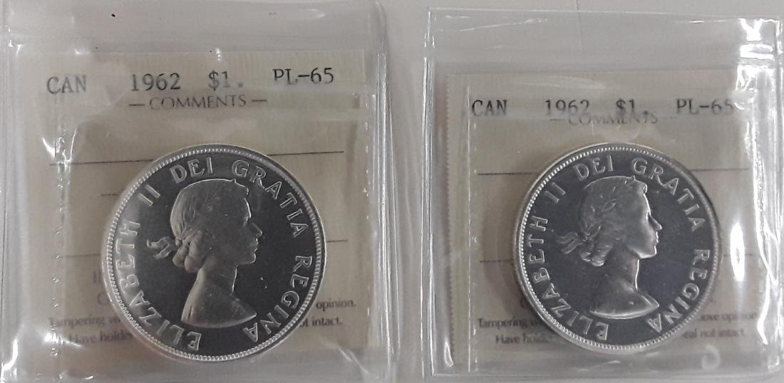 Canadian  1962 Prooflike Silver Dollar Coin Collection - 10
