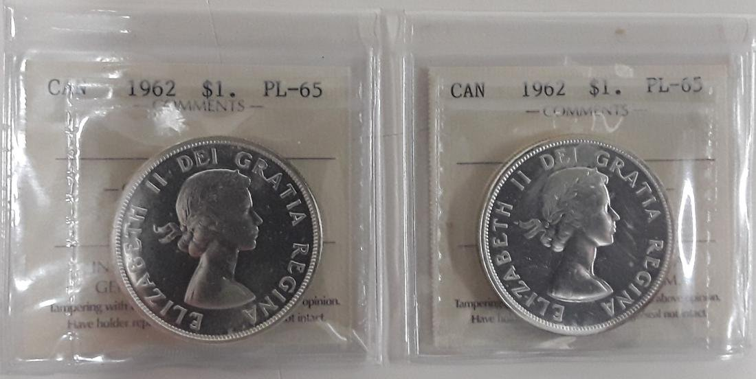 Canadian  1962 Prooflike Silver Dollar Coin Collection - 3