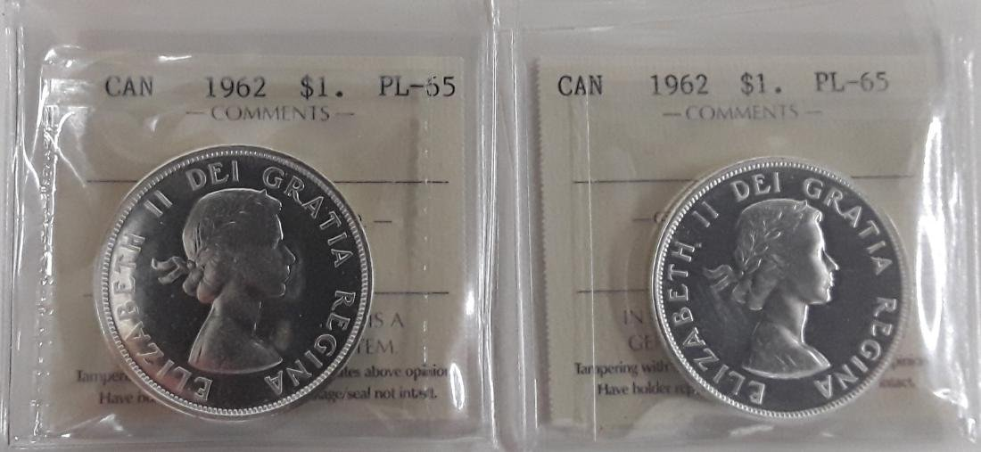 Canadian  1962 Prooflike Silver Dollar Coin Collection - 8