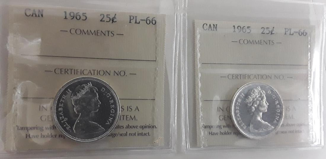 Canadian 1965 Prooflike 25 Cent Coin (quarter)
