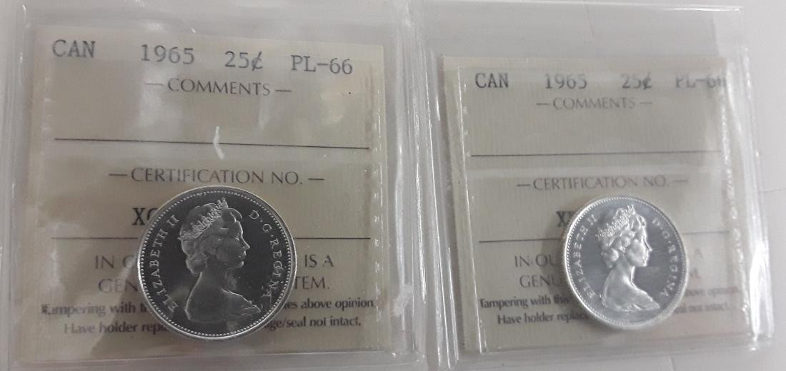 Canadian 1965 Prooflike 25 Cent Coin (quarter) - 3