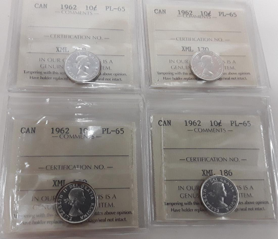 Canadian  1962 Prooflike 10 Cent (dime) Coin Collection