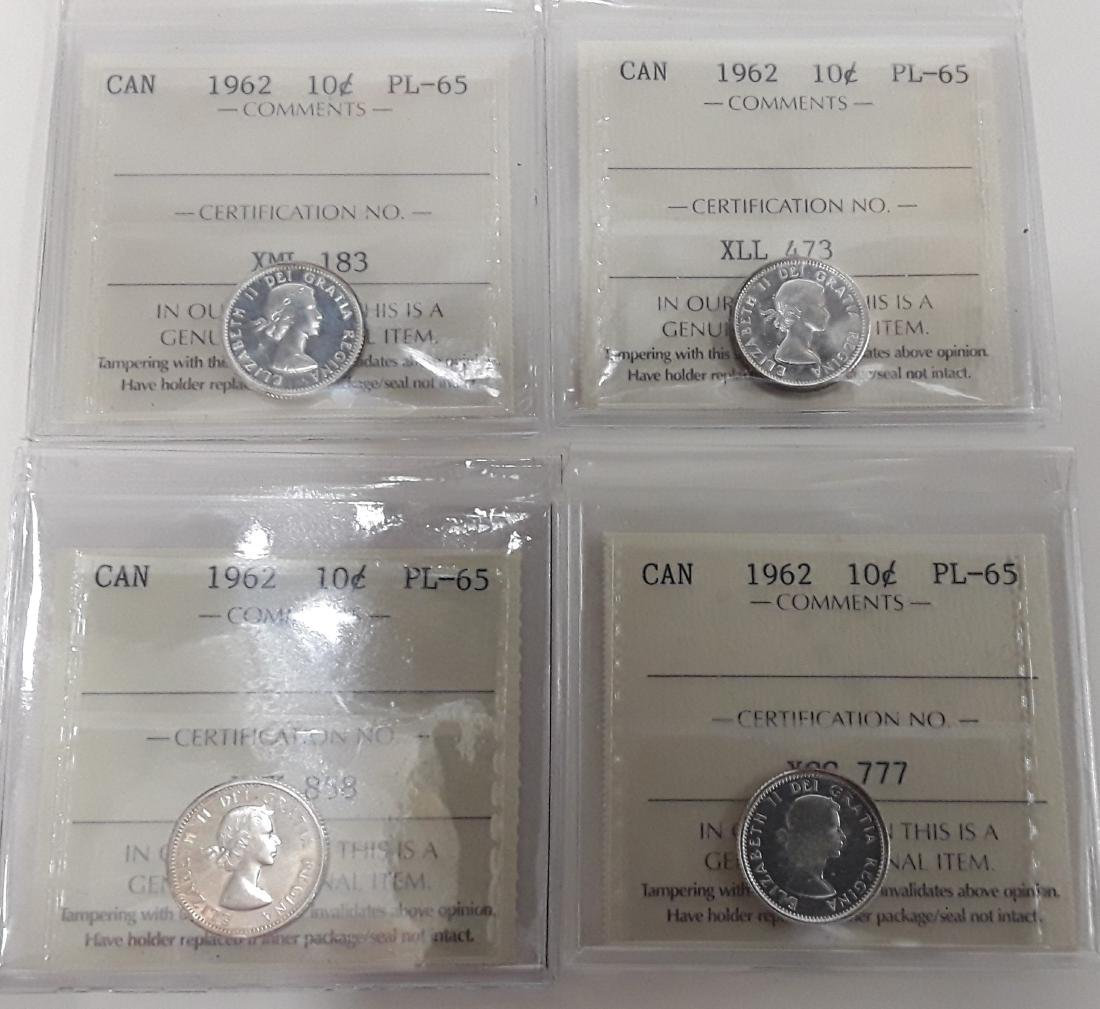 Canadian  1962 Prooflike 10 Cent (dime) Coin Collection - 4