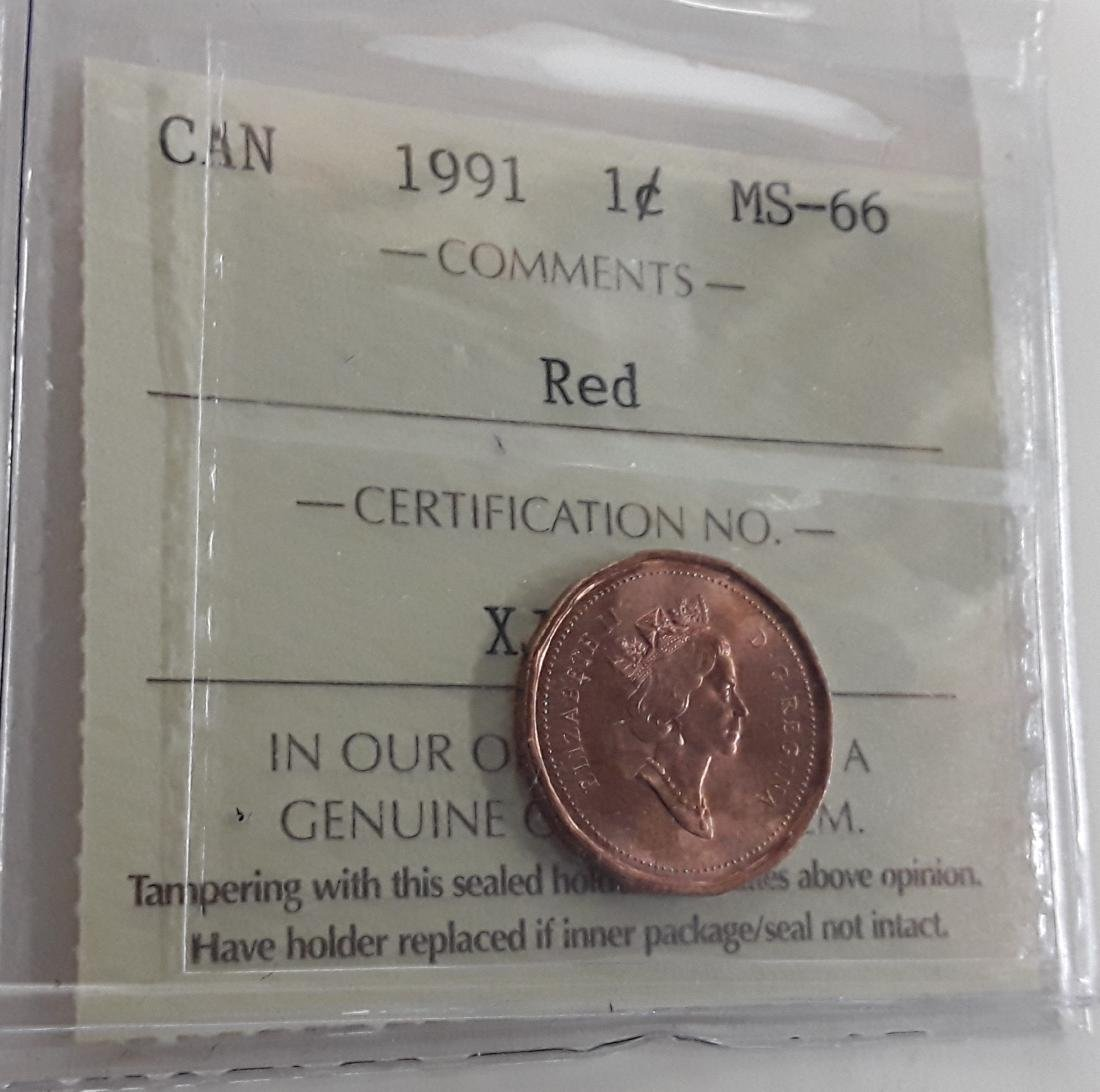 Canadian 1991 1 Cent  Coin Collection - 4