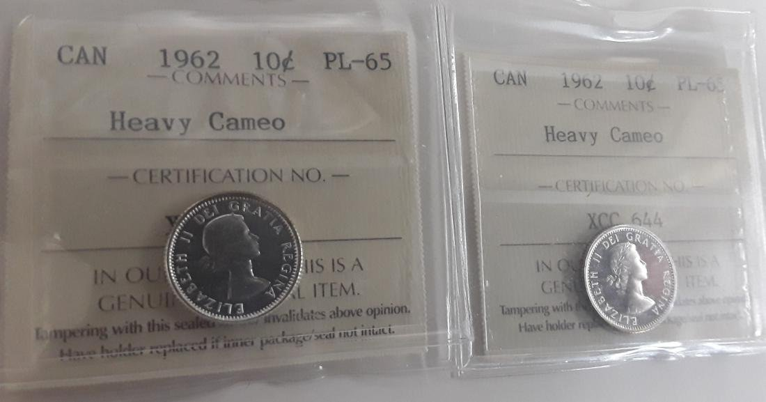 Canadian  1962 Prooflike 10 Cent (dime) Coin Collection - 3