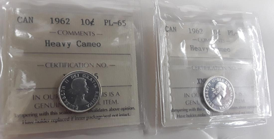Canadian  1962 Prooflike 10 Cent (dime) Coin Collection - 5