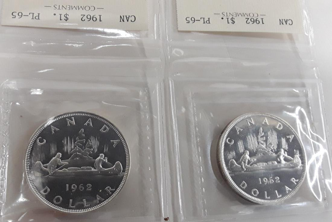 Canadian  1962 Prooflike Silver Dollar Coin Collection - 2