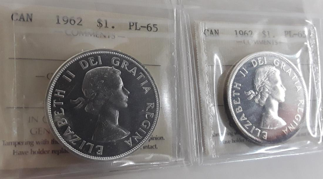 Canadian  1962 Prooflike Silver Dollar Coin Collection - 5