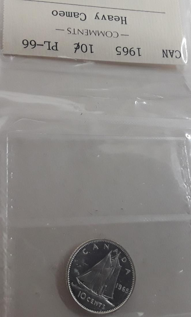 Canadian 1965 Prooflike 10 Cent Coin (dime) - 10