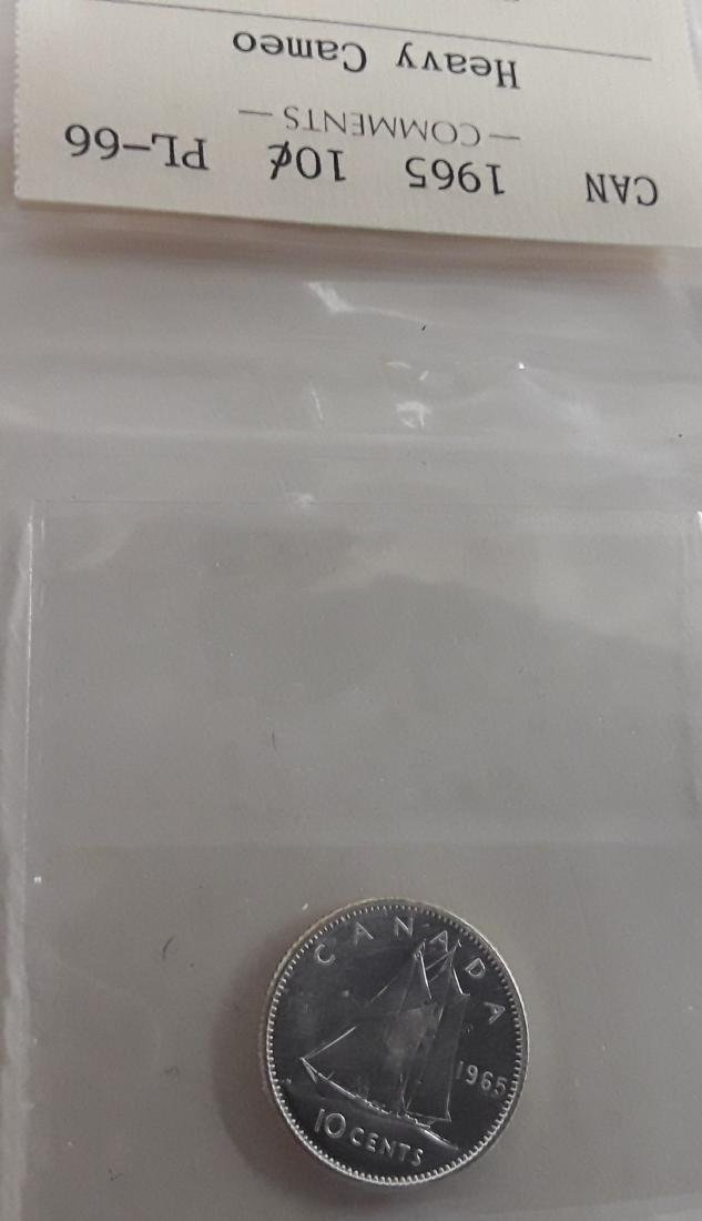 Canadian 1965 Prooflike 10 Cent Coin (dime) - 4