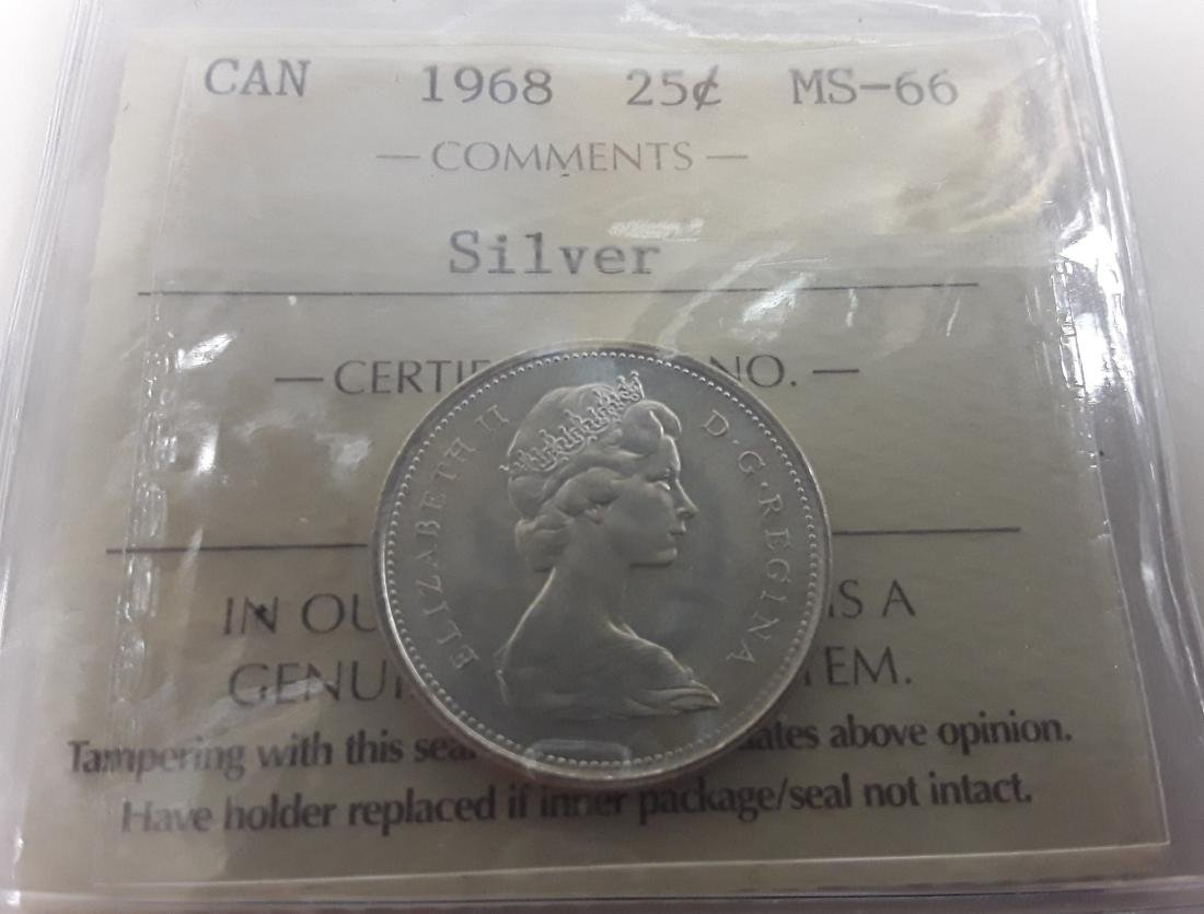 Canadian 1968 25 Cent  (Silver quarter) Coin Collection - 4