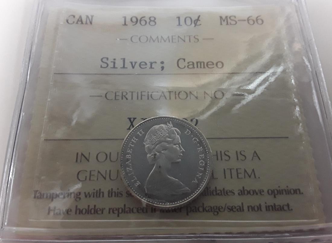 Canadian 1968 10 Cent  (Silver)  MS65 Coin  Cameo