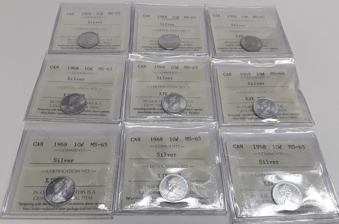 Canadian 1968 10 Cent (Silver) Coin  collection