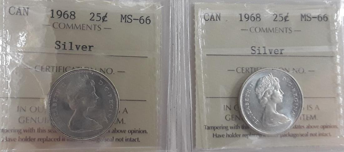 Canadian 1968 25 Cent (Silver Quarter) Coin Collection