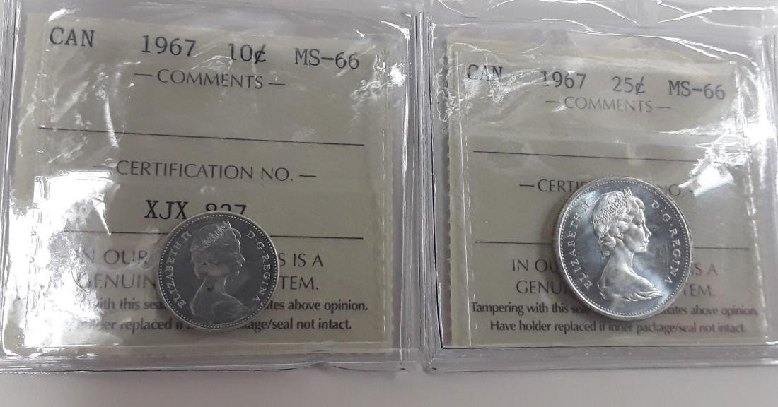 Canadian 1967 25 Cent Coin and 10 cent MS66 Coin