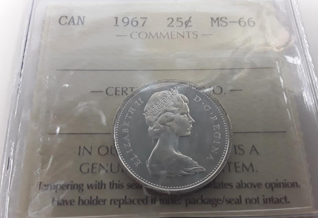 Canadian 1967 25 Cent Coin and 10 cent MS66 Coin - 4
