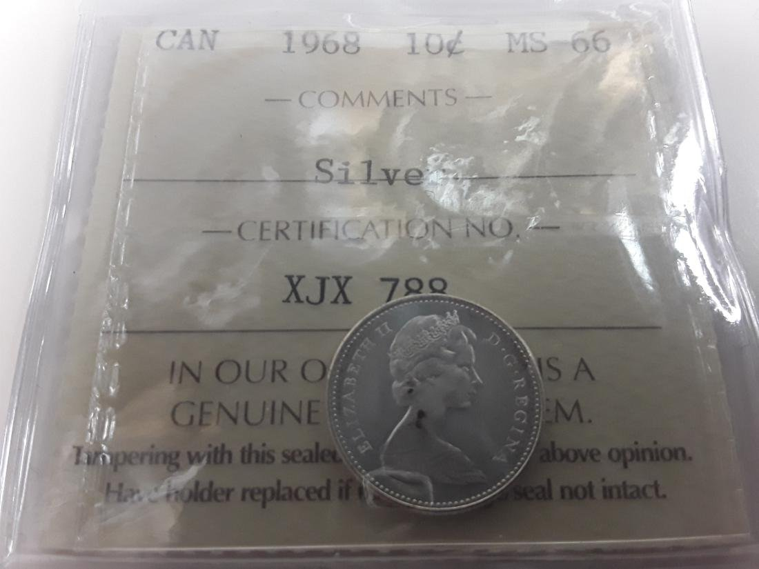 Canadian 1968 10 Cent  (Silver) Coin Collection - 6