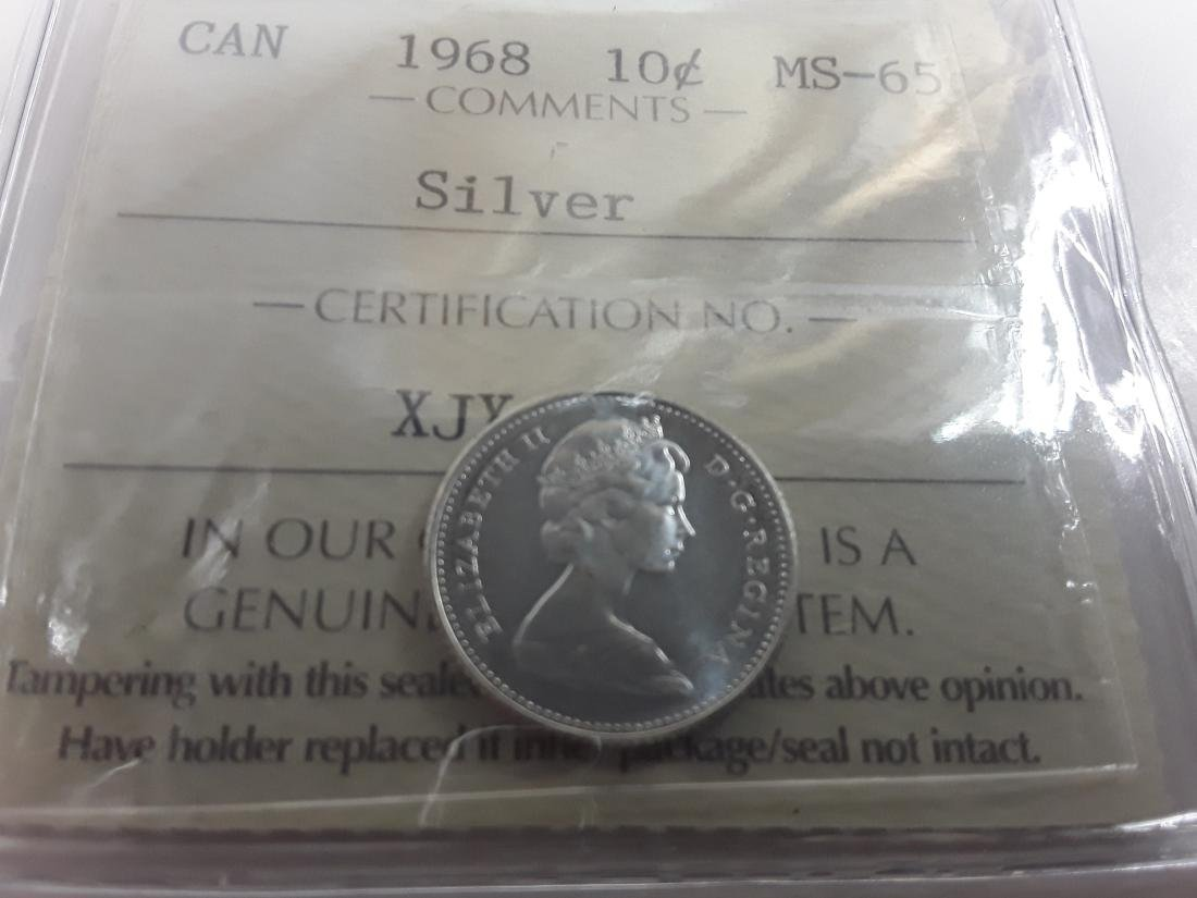 Canadian 1968 10 Cent  (Silver) Coin Collection - 7