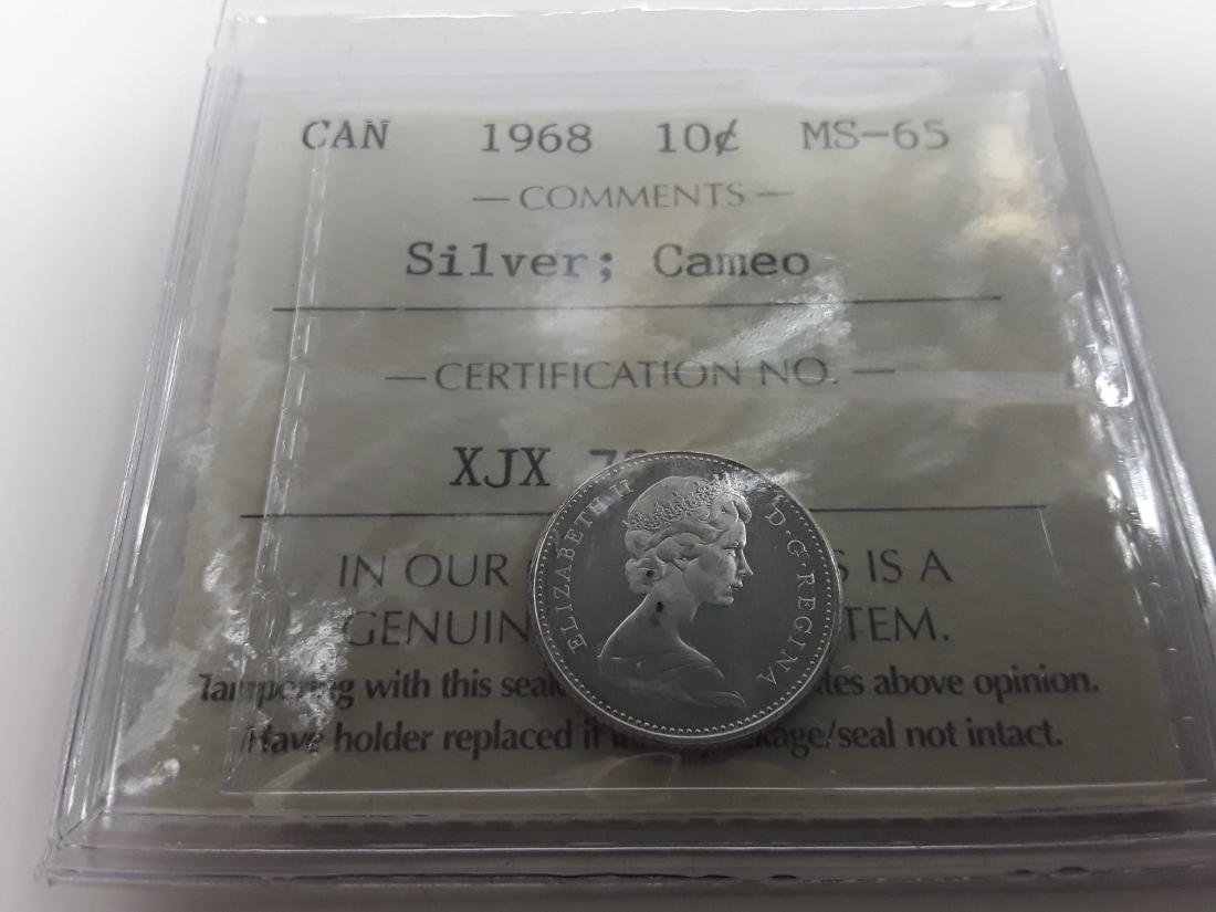 Canadian 1968 10 Cent  (Silver) Coin Collection - 3