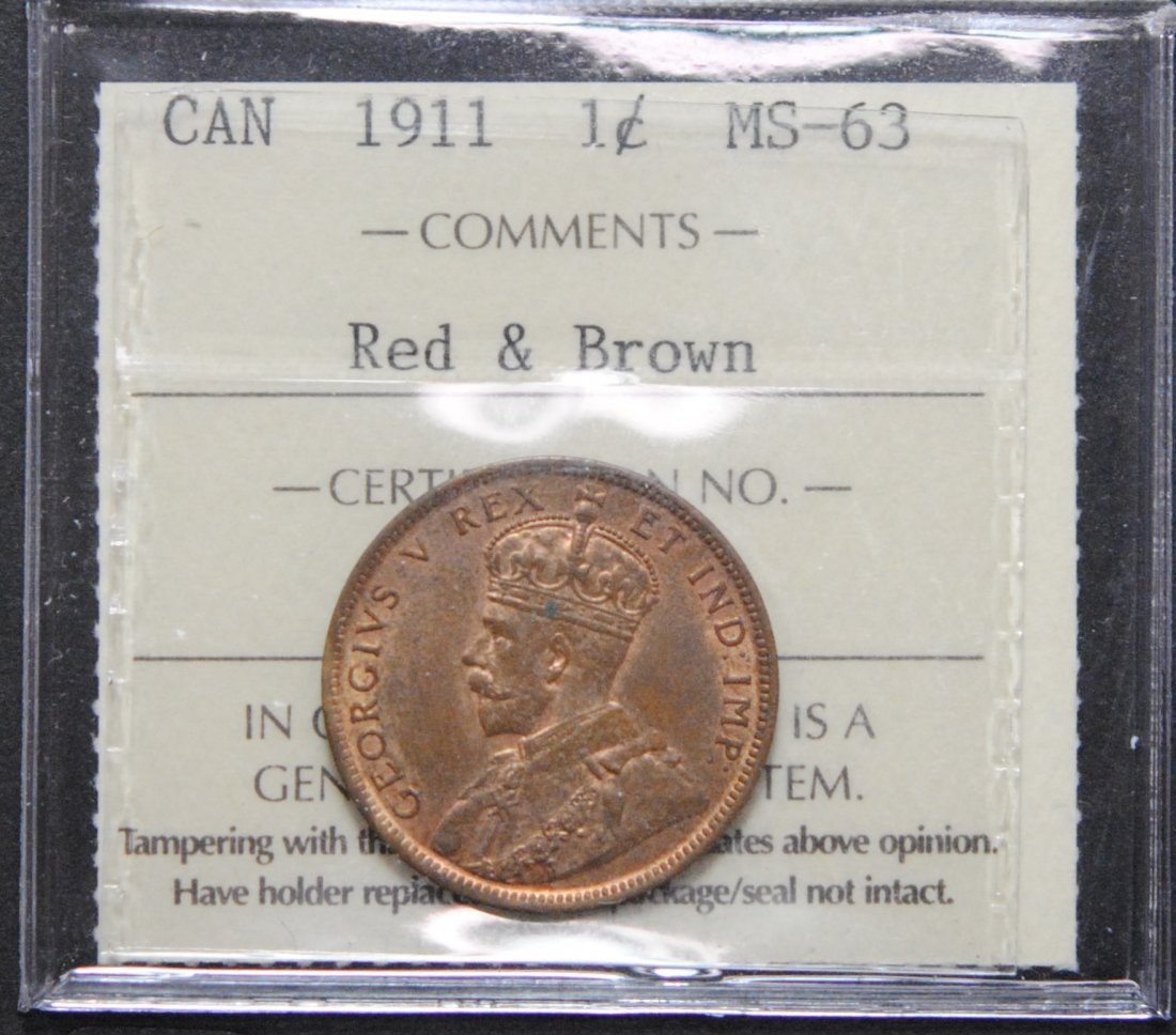 Canada 1911 One Cent ICCS MS63 Red & Brown