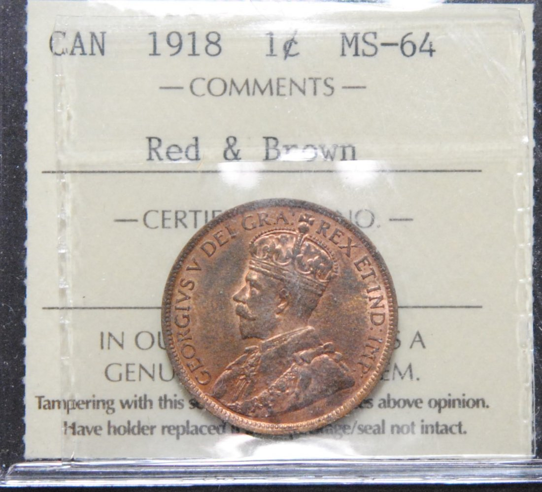Canada 1918 Canada One Cent ICCS MS64