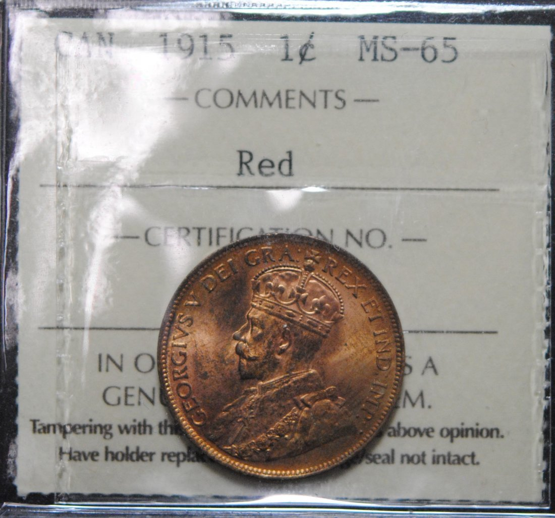 Canada 1915 One Cent ICCS MS65 Red